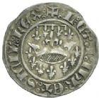 Photo numismatique  MONNAIES BARONNIALES Comté de PROVENCE LOUIS Ier et JEANNE (1349-1362) Demi-gros ou octhène créé en 1355 à Tarascon.