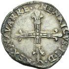 Photo numismatique  MONNAIES BARONNIALES Royaume de NAVARRE HENRI III (1572-1589) Quart d'écu frappé en 1584.