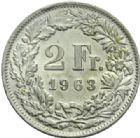Photo numismatique  MONNAIES MONNAIES DU MONDE SUISSE CONFEDERATION 2 francs 1963.
