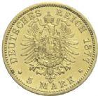 Photo numismatique  MONNAIES MONNAIES DU MONDE ALLEMAGNE WURTEMBERG, Karl (1864-1891) 5 Mark, Freudenstadt 1877.