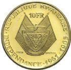 Photo numismatique  MONNAIES MONNAIES DU MONDE RWANDA République. Président Kayibanda 10 francs or, 1961.