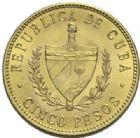Photo numismatique  MONNAIES MONNAIES DU MONDE CUBA 1ère REPUBLIQUE (1902-1962) 5 Pesos or, 1916.