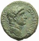 Photo numismatique  MONNAIES GRECE ANTIQUE ASIE MINEURE. JUDEE Agrippa II (vers 48-95) Petit bronze au nom de Domitien.