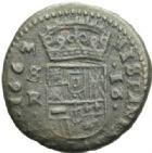 Photo numismatique  MONNAIES MONNAIES DU MONDE ESPAGNE PHILIPPE IV (1621-1665) 16 maravedis, Séville 1663.