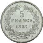 Photo numismatique  MONNAIES MODERNES FRANÇAISES LOUIS-PHILIPPE Ier (9 août 1830-24 février 1848)  5 francs, Lille 1837.
