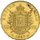 Photo numismatique  MONNAIES MODERNES FRANÇAISES NAPOLEON III, empereur (2 décembre 1852-1er septembre 1870)  50 francs or, Paris 1867.