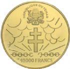 Photo numismatique  MONNAIES MONNAIES DU MONDE TCHAD 10e anniversaire de l'Indépendance, 1970 10 000 francs or daté 1960.