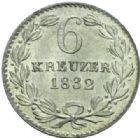 Photo numismatique  MONNAIES MONNAIES DU MONDE ALLEMAGNE BADE, Léopold (1830-1852) 6 Kreutzer, 1832.
