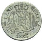Photo numismatique  MONNAIES MONNAIES DU MONDE ALLEMAGNE BAVIERE, Louis Ier (1825-1848) 1 Kreutzer, 1833.