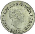 Photo numismatique  MONNAIES MONNAIES DU MONDE ALLEMAGNE WURTEMBERG, Guillaume Ier (1816-1864) 1 Kreutzer, 1832.