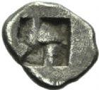 Photo numismatique  MONNAIES GRECE ANTIQUE GAULE Type du trésor d'Auriol (Ve siècle) Hémiobole milésiaque (475-460).
