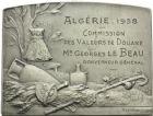 Photo numismatique  ARCHIVES VENTE 2013 -Coll Henri Dolet DERNIÈRE MINUTE MEDAILLES CONCERNANT L'ALGERIE  841- Commission des valeurs de Douane, Algérie, 1938.