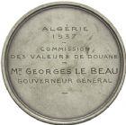 Photo numismatique  ARCHIVES VENTE 2013 -Coll Henri Dolet DERNIÈRE MINUTE MEDAILLES CONCERNANT L'ALGERIE  840- Commission des valeurs de Douane, Algérie, 1937.