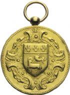 Photo numismatique  ARCHIVES VENTE 2013 -Coll Henri Dolet MEDAILLES DE GRAND MODULE   673- Médaille en or du centenaire de BOIELDIEU, Rouen 1875.