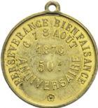 Photo numismatique  ARCHIVES VENTE 2013 -Coll Henri Dolet SOCIETE DES INCAS DE VALENCIENNES   671- Jeton du 50ème anniversaire de la Société des Incas, marche des 6-8 août 1876.