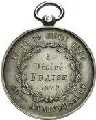 Photo numismatique  ARCHIVES VENTE 2013 -Coll Henri Dolet SOCIETE DES INCAS DE VALENCIENNES   668-  Médaille du 40ème anniversaire de la Société des Incas, marche des 17-19 juin 1866.