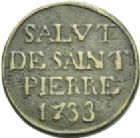Photo numismatique  ARCHIVES VENTE 2013 -Coll Henri Dolet PLOMBS ET MEREAUX VALENCIENNES  639- M�reau de Saint-Pierre, 1733.