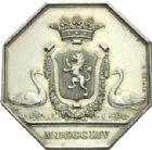 Photo numismatique  ARCHIVES VENTE 2013 -Coll Henri Dolet JETONS DE L'ANCIEN RÉGIME VALENCIENNES Conseil de la Ville. 582- Jeton octogonal du Conseil municipal, 1854.