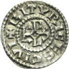 Photo numismatique  ARCHIVES VENTE 2013 -Coll Henri Dolet MONNAIES DU HAINAUT - VALENCIENNES CAROLINGIENS - Charles le Chauve (840-875)  406- Denier frappé à Bourges, 840-875.