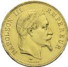 Photo numismatique  ARCHIVES VENTE 2013 -Coll Henri Dolet MODERNES FRANÇAISES NAPOLEON III, empereur (2 décembre 1852-1er septembre 1870)  374- 100 francs or, Paris 1869.