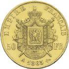 Photo numismatique  ARCHIVES VENTE 2013 -Coll Henri Dolet MODERNES FRANÇAISES NAPOLEON III, empereur (2 décembre 1852-1er septembre 1870)  373- 50 francs or, Paris 1865.