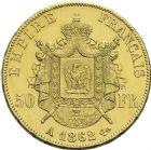 Photo numismatique  ARCHIVES VENTE 2013 -Coll Henri Dolet MODERNES FRANÇAISES NAPOLEON III, empereur (2 décembre 1852-1er septembre 1870)  372- 50 francs or, Paris 1862.