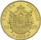 Photo numismatique  ARCHIVES VENTE 2013 -Coll Henri Dolet MODERNES FRANÇAISES NAPOLEON III, empereur (2 décembre 1852-1er septembre 1870)  369- 50 francs or, Paris 1868.