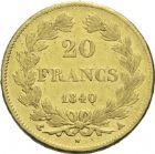 Photo numismatique  ARCHIVES VENTE 2013 -Coll Henri Dolet MODERNES FRANÇAISES LOUIS-PHILIPPE Ier (9 août 1830-24 février 1848)  364- 20 francs or, Paris 1840.