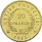 Photo numismatique  ARCHIVES VENTE 2013 -Coll Henri Dolet MODERNES FRANÇAISES NAPOLEON Ier - Les Cents-Jours (20 mars au 22 juin 1815)  361- 20 francs or, Paris 1815.