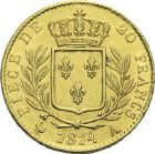 Photo numismatique  ARCHIVES VENTE 2013 -Coll Henri Dolet MODERNES FRANÇAISES LOUIS XVIII, 1ère restauration (3 mai 1814-20 mars 1815)  358- 20 francs or, Paris 1814.