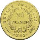 Photo numismatique  ARCHIVES VENTE 2013 -Coll Henri Dolet MODERNES FRANÇAISES NAPOLEON Ier, empereur (18 mai 1804- 6 avril 1814)  *352- 20 francs or, Utrecht, 1813.