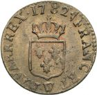 Photo numismatique  ARCHIVES VENTE 2013 -Coll Henri Dolet ROYALES FRANCAISES LOUIS XVI (10 mai 1774–21 janvier 1793)  340- Liard, Lille 1782.