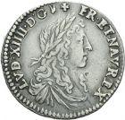 Photo numismatique  ARCHIVES VENTE 2013 -Coll Henri Dolet ROYALES FRANCAISES LOUIS XIV (14 mai 1643-1er septembre 1715)  325- Douzième d'écu du Dauphiné au buste juvénile, Grenoble 1660.