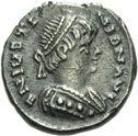 Photo numismatique  ARCHIVES VENTE 2013 -Coll Henri Dolet PEUPLES BARBARES OSTROGOTHS ATHALARIC (526-534) 315- Demi-silique au nom de Justinien Ier (527-565), frappée à Ravenne.