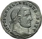 Photo numismatique  ARCHIVES VENTE 2013 -Coll Henri Dolet EMPIRE ROMAIN SÉVÈRE II (306-307)  270- Nummus frappé à Héraclée en juillet 306-mars 307.