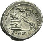Photo numismatique  ARCHIVES VENTE 2013 -Coll Henri Dolet REPUBLIQUE ROMAINE   249- C. Vibius Varus (vers 42). Denier.