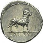 Photo numismatique  ARCHIVES VENTE 2013 -Coll Henri Dolet RÉPUBLIQUE ROMAINE   243- L. Rustius (vers 76). Denier.