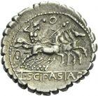 Photo numismatique  ARCHIVES VENTE 2013 -Coll Henri Dolet RÉPUBLIQUE ROMAINE   224- L. Scipio Asiagenus (vers 106). Denier serratus.