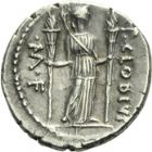 Photo numismatique  ARCHIVES VENTE 2013 -Coll Henri Dolet REPUBLIQUE ROMAINE   222- P. Clodius M. f. Turrinus (vers 42). Denier.