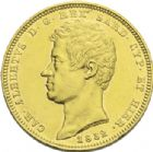 Photo numismatique  ARCHIVES VENTE 2013 -Coll J.R. MONNAIES MODERNES ROYAUME DE SARDAIGNE. CHARLES-ALBERT (1831-1849).   197- 100 lire or, Gênes 1832.