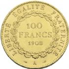 Photo numismatique  ARCHIVES VENTE 2013 -Coll J.R. MONNAIES MODERNES 3e REPUBLIQUE (4 septembre 1870-10 juillet1940)  193- 100 francs or, Paris 1908.