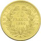 Photo numismatique  ARCHIVES VENTE 2013 -Coll J.R. MONNAIES MODERNES NAPOLEON III, empereur (2 décembre 1852-1er septembre 1870)  185- 10 francs or de petit module, Paris 1854.