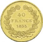 Photo numismatique  ARCHIVES VENTE 2013 -Coll J.R. MONNAIES MODERNES LOUIS-PHILIPPE Ier (9 août 1830-24 février 1848)  183- 40 francs or, Paris 1833.