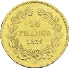 Photo numismatique  ARCHIVES VENTE 2013 -Coll J.R. MONNAIES MODERNES LOUIS-PHILIPPE Ier (9 août 1830-24 février 1848)  182- 40 francs or, Paris 1831.