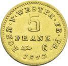 Photo numismatique  ARCHIVES VENTE 2013 -Coll J.R. MONNAIES MODERNES JERÔME NAPOLEON, roi de Westphalie (1807-1813)  181- 5 Franken or, Cassel 1813.