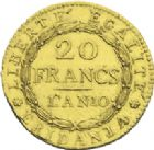 Photo numismatique  ARCHIVES VENTE 2013 -Coll J.R. MONNAIES MODERNES REPUBLIQUE SUBALPINE (1800-1802)  177- 20 francs or dite « Marengo », Turin an 10.