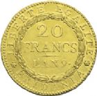Photo numismatique  ARCHIVES VENTE 2013 -Coll J.R. MONNAIES MODERNES REPUBLIQUE SUBALPINE (1800-1802)  176- 20 francs or dite « Marengo », Turin an 9.