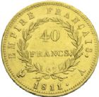 Photo numismatique  ARCHIVES VENTE 2013 -Coll J.R. MONNAIES MODERNES NAPOLEON Ier, empereur (18 mai 1804- 6 avril 1814)  172- 40 francs or, Paris 1811.