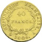 Photo numismatique  ARCHIVES VENTE 2013 -Coll J.R. MONNAIES MODERNES NAPOLEON Ier, empereur (18 mai 1804- 6 avril 1814)  170- 40 francs or, Paris 1806.