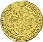 Photo numismatique  ARCHIVES VENTE 2013 -Coll J.R. BARONNIALES Comté de FLANDRE LOUIS de MÂLE (1346-1384) 165- Franc à pied d'or, frappé à Gand, (1369-1370).